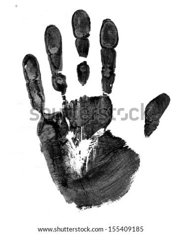 Black Print of hand, raster grunge illustration  - stock photo