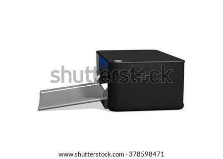 Black printer, side view, isolated on white. - stock photo