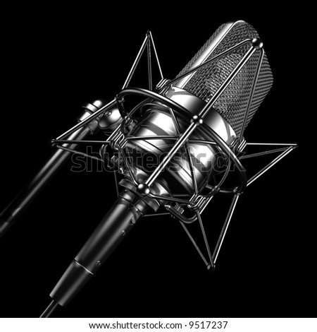 Black professional microphone - stock photo