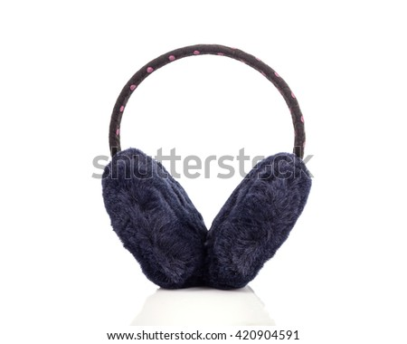Black protective accessory like hats from cold to the ears isolated on white background - stock photo