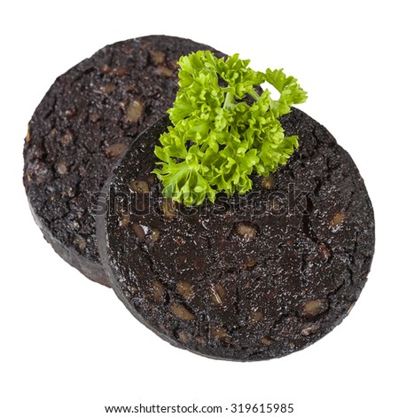 Black Pudding - Sausage made with pig's blood, oatmeal and spices isolated on a white background. Typical British cuisine. - stock photo