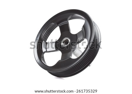 Black pulley car engine on a white background
