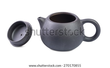 Black Purple Chinese Kungfu TeaPot and lid isolated on white background - stock photo