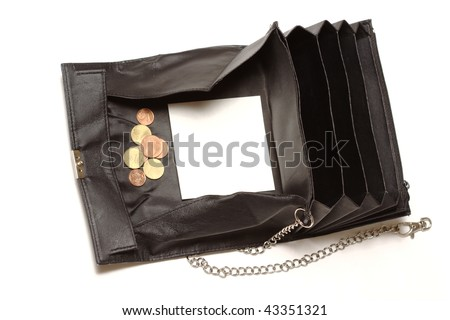 Black purse, as used by waiters or taxi drivers, with a few coins and white space for text. - stock photo