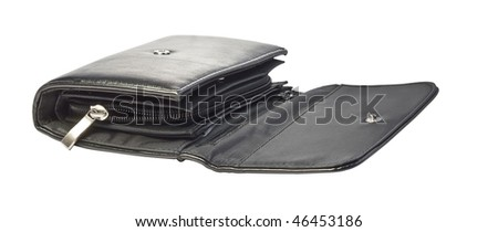 Black purse, isolated on a white background.
