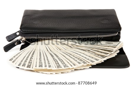 black purse with dollars. isolated on white