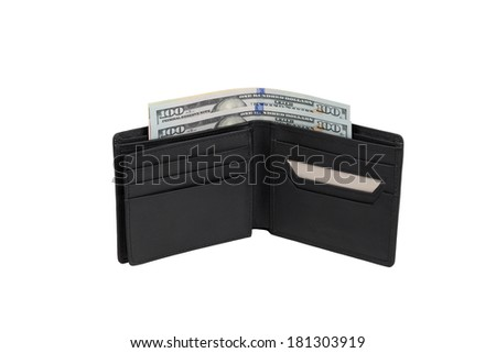 Black purse with money isolated on white background