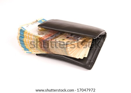 Black purse with money, isolated, white, finance, cash