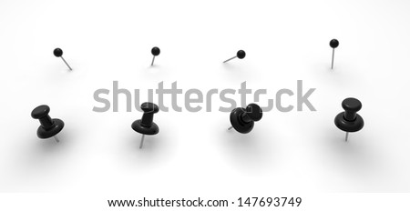 Black push pins for your design - stock photo