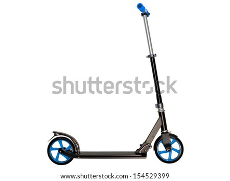 Black push scooter on white. Clipping path included. - stock photo