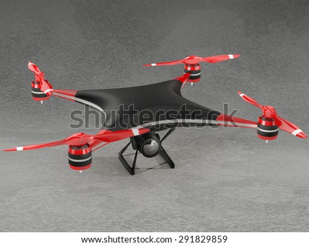 black quadcopter drone with HD camera on gray background - stock photo