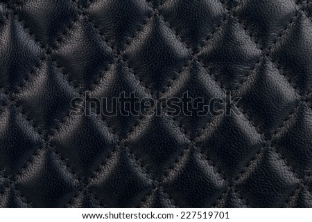 Black quilted leather background - stock photo