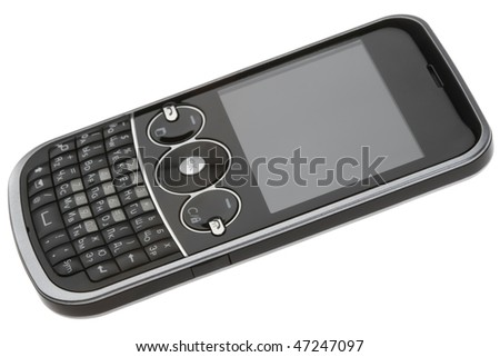 Black QWERTY-smartphone isolated on white - stock photo