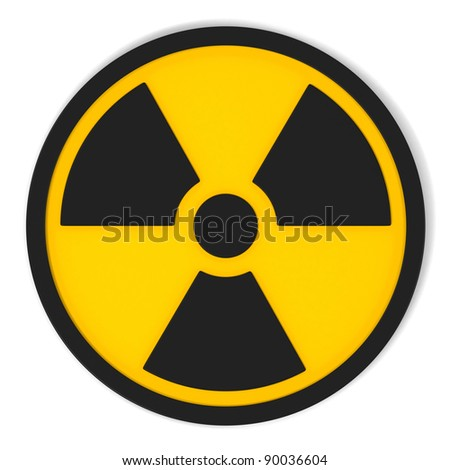 Black  Radiation Sign in Circle on yellow with white background