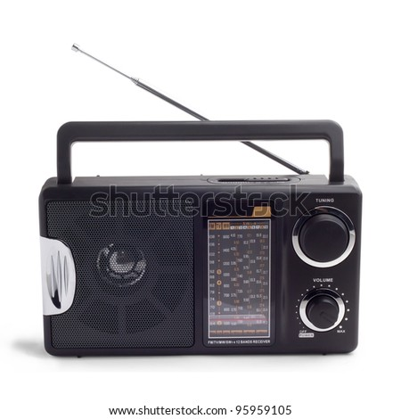 black radio isolated - stock photo