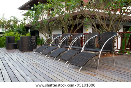 black rattan chairs decoration at the home terrace - stock photo