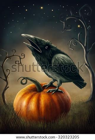 Black raven on the pumpkin - stock photo