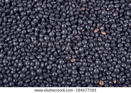 Black raw lentil as background texture