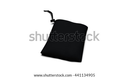 Black ready for branding synthetic fabric bag with strings and drag fixation isolated on white backgrounds with shadows. 3D illustration render