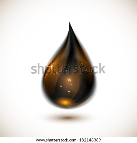 Black realistic glossy gold oil drop - stock photo