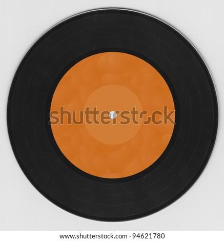 black record with orange label - stock photo