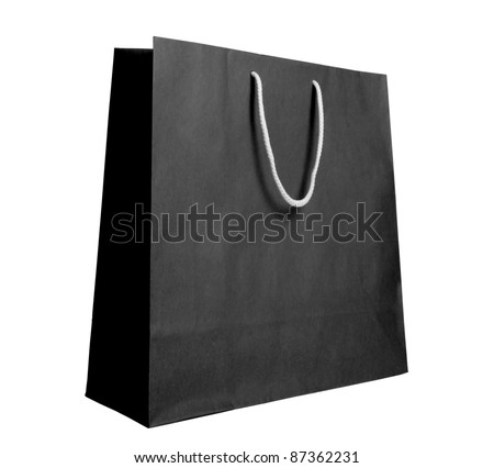Black recycle paper shopping bag on white background - stock photo