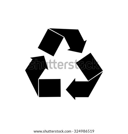 Black recycle sign raster isolated icon. Recycle symbol - stock photo