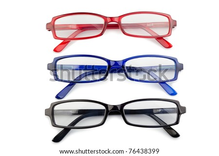 Black red and blue glasses on a white background - stock photo