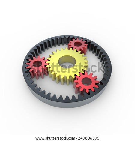 Black red and yellow anodized steel planetary gears on a white background - stock photo