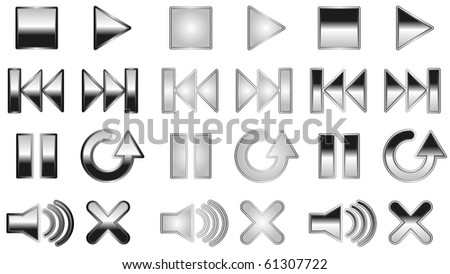 Black reflective player buttons - raster - stock photo