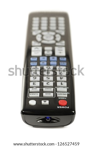 Black remote control isolated on the white