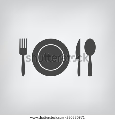 Black restaurant menu icon plate with cutlery spoon, fork, knife. Rasterized version. - stock photo
