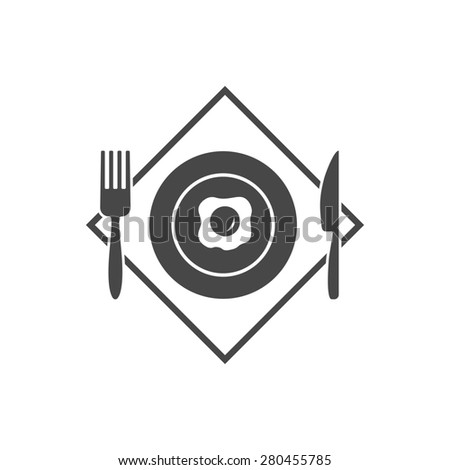 Black restaurant menu icon plate with fried eggs and cutlery fork, knife isolated. Rasterized version. - stock photo