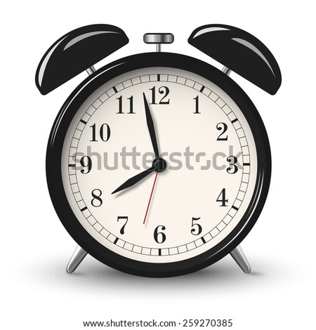 Black retro alarm clock isolated on white background - stock photo