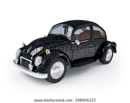Black retro car from forties on a white background - stock photo