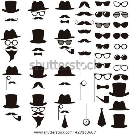 Black retro gentleman icons set. Raster version - stock photo