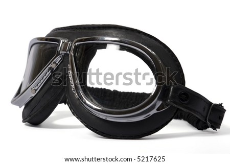 Black retro leathern goggles for motorcyclist - stock photo