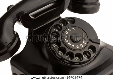 black retro telephon on white - stock photo