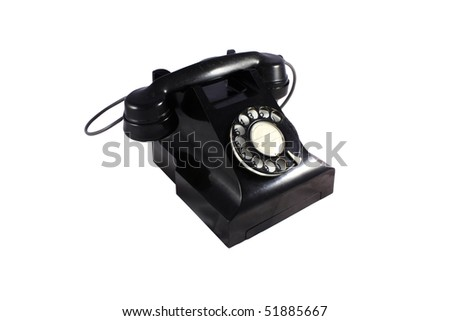 Black retro telephone with white background- isolated with clipping path - stock photo