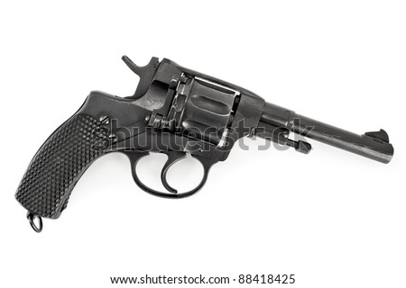 Black revolver isolated on white background