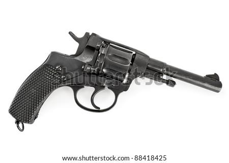 Black revolver isolated on white background - stock photo