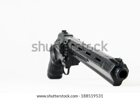 Black Revolver Pistol Gun on a White Background