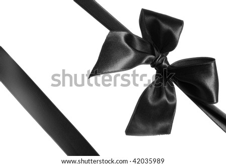 black ribbon and bow isolated on white background - stock photo