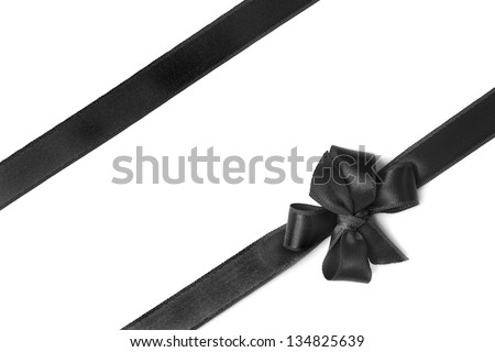 Black ribbon isolated on white background - stock photo