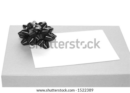 Black ribbon on a gray box with white, blank envelope - stock photo