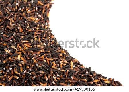 Black rice wave isolated on white background - stock photo