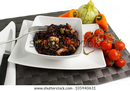black rice with vegetables and shrimp
