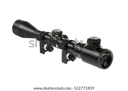 black riflescope on the isolated white background