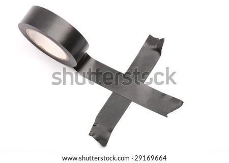black ring insulating tape in cross - stock photo