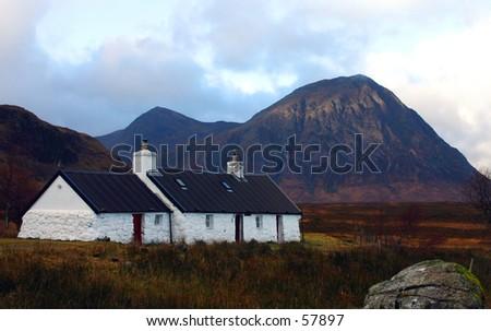 Black Rock Cottage In Glencoe, Scotland - stock photo
